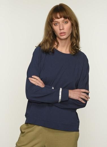 People By Fabrika Kadın Şerit Detaylı  Sweatshirt PFKAW20SW0013 Lacivert